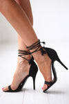 Love Sick Wrap Heels - cute black lace-up heels, side, Closet Candy Boutique