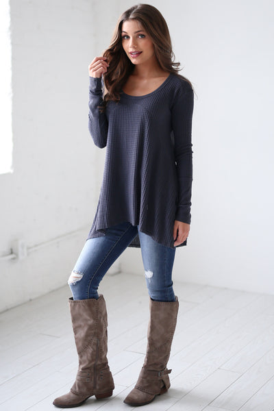 Catch My Attention Top - Midnight long sleeve flowy top, side, Closet Candy Boutique