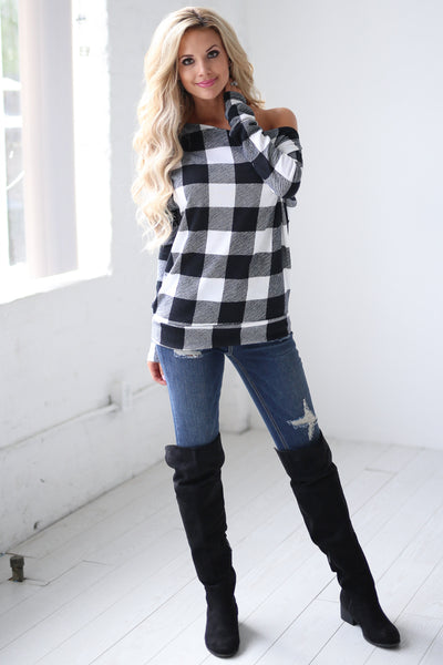 Feel the Magic Top - Black & White checkered plaid off the shoulder top, front, Closet Candy Boutique 4