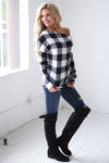 Feel the Magic Top - Black & White checkered plaid off the shoulder top, side, Closet Candy Boutique