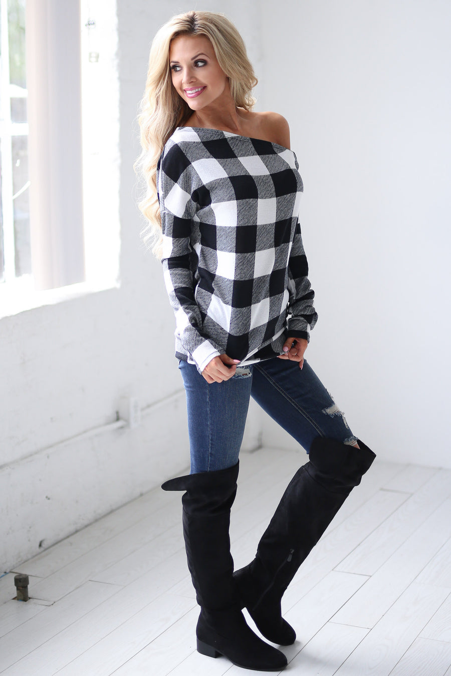 Feel the Magic Top - Black & White checkered plaid off the shoulder top, front, Closet Candy Boutique 1
