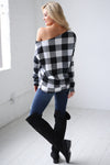 Feel the Magic Top - Black & White checkered plaid off the shoulder top, back, Closet Candy Boutique