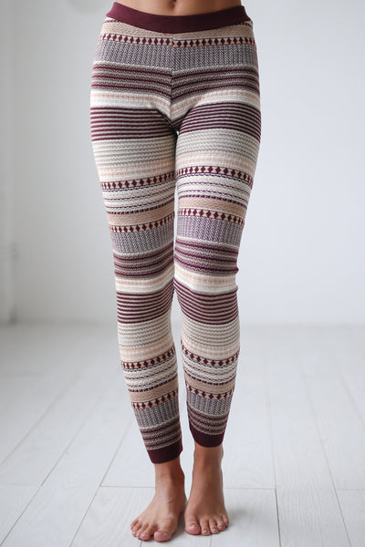 Cuddled Up Knit Leggings - Wine printed leggings, cute pajama pants, Closet Candy Boutique 4