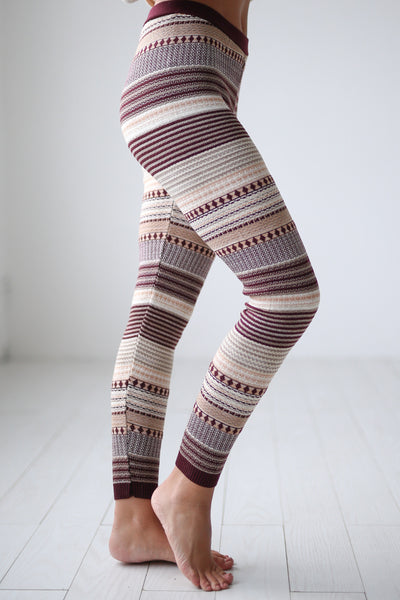 Cuddled Up Knit Leggings - Wine printed leggings, cute pajama pants, Closet Candy Boutique 2