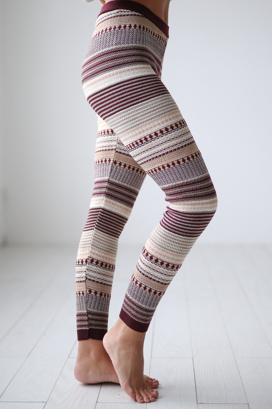 Cuddled Up Knit Leggings - Wine printed leggings, cute pajama pants, Closet Candy Boutique 1