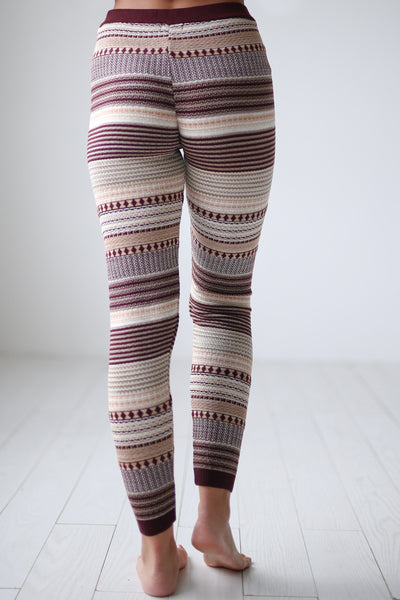 Cuddled Up Knit Leggings - Wine printed leggings, cute pajama pants, Closet Candy Boutique 3