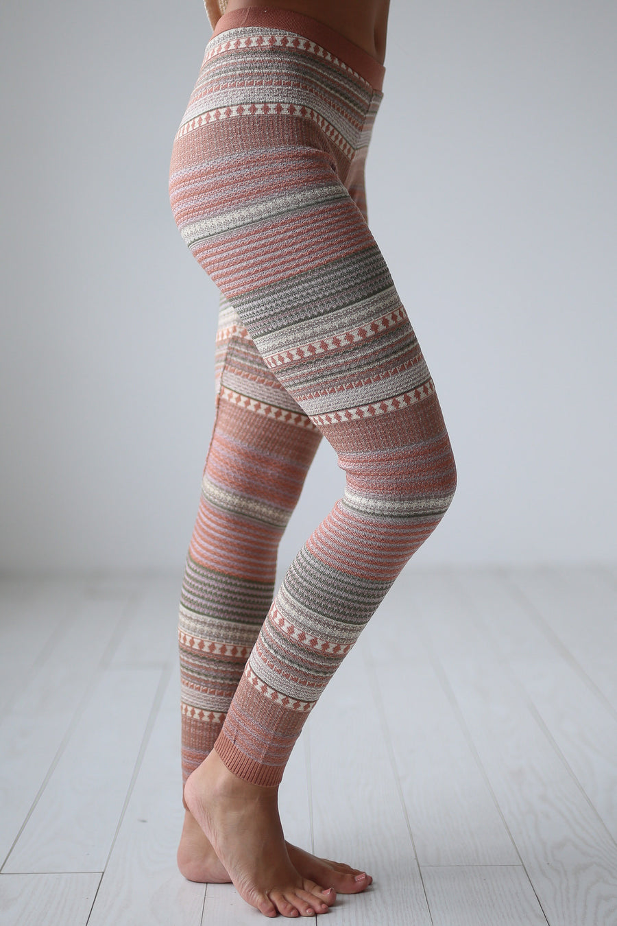 Cuddled Up Knit Leggings - Dusty Rose printed leggings, cute pajama pants, Closet Candy Boutique 1