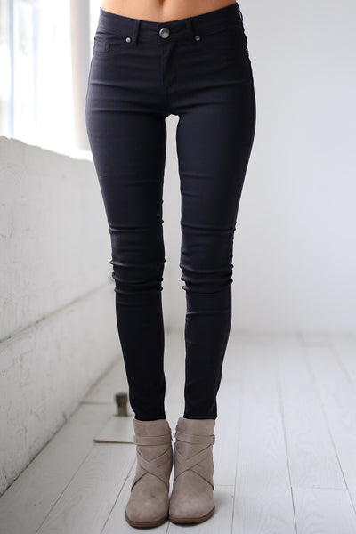 Chic & Sleek Pants - Black skinny pants, front, Closet Candy Boutique 1