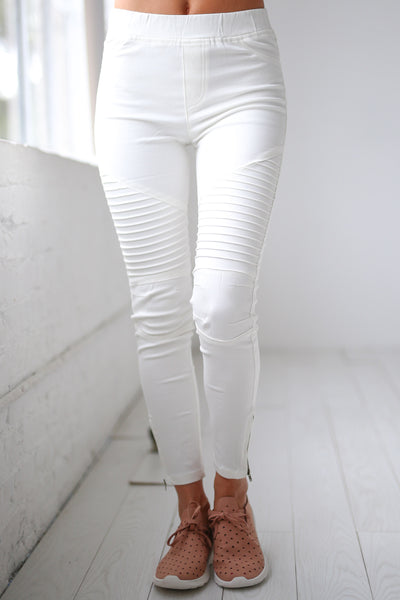 Need For Speed Moto Pants - Ivory ribbed moto pants, Closet Candy Boutique 2