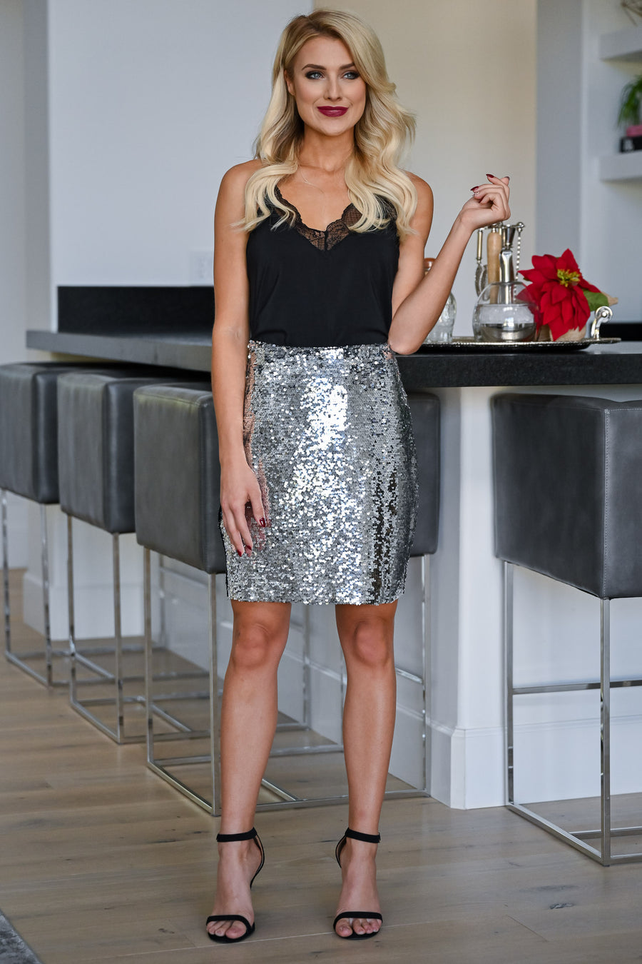 Watch Her Shine Sequin Skirt - Silver womens trendy sequin pencil skirt closet candy front