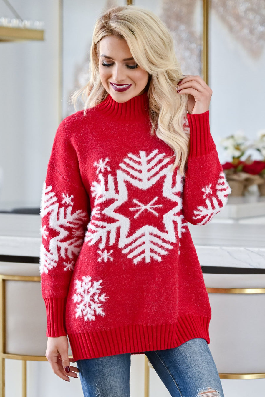 Catching Snowflakes Pullover Sweater - Red womens trendy long sleeve fuzzy snowflake pullover closet candy sitting