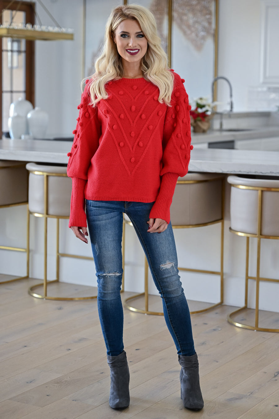 This Is Everything Sweater - Red womens trendy textured knit round neckline sweater closet candy front