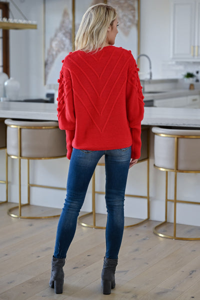 This Is Everything Sweater - Red womens trendy textured knit round neckline sweater closet candy back