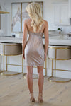 Sparkle & Shine Fitted Dress - Bronze womens fitted metallic adjustable strap zipper back nye dress closet candy back