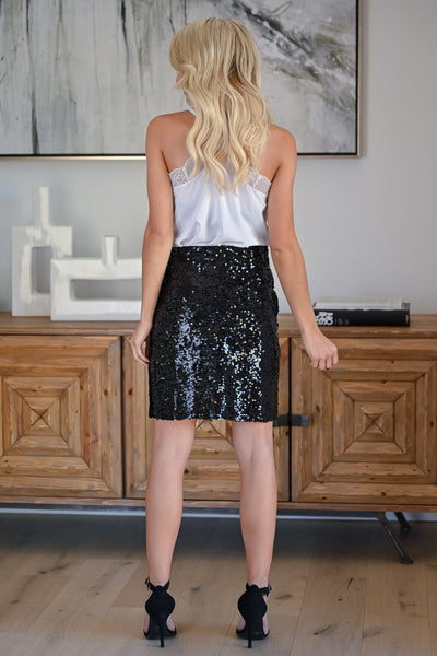 Watch Her Shine Sequin Skirt - Black womens trendy sequin pencil skirt closet candy back