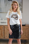 Watch Her Shine Sequin Skirt - Black womens trendy sequin pencil skirt closet candy front 2