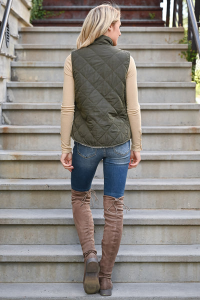Change Is Good Reversible Sherpa Vest - Olive womens trendy reversible quilted vegan fleece sherpa vest closet candy back