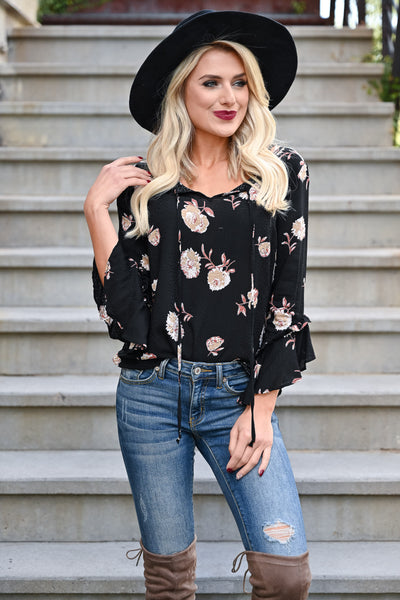 EVERLY With You Floral Top - Black womens floral print 3/4 sleeve self-tie top closet candy front 2