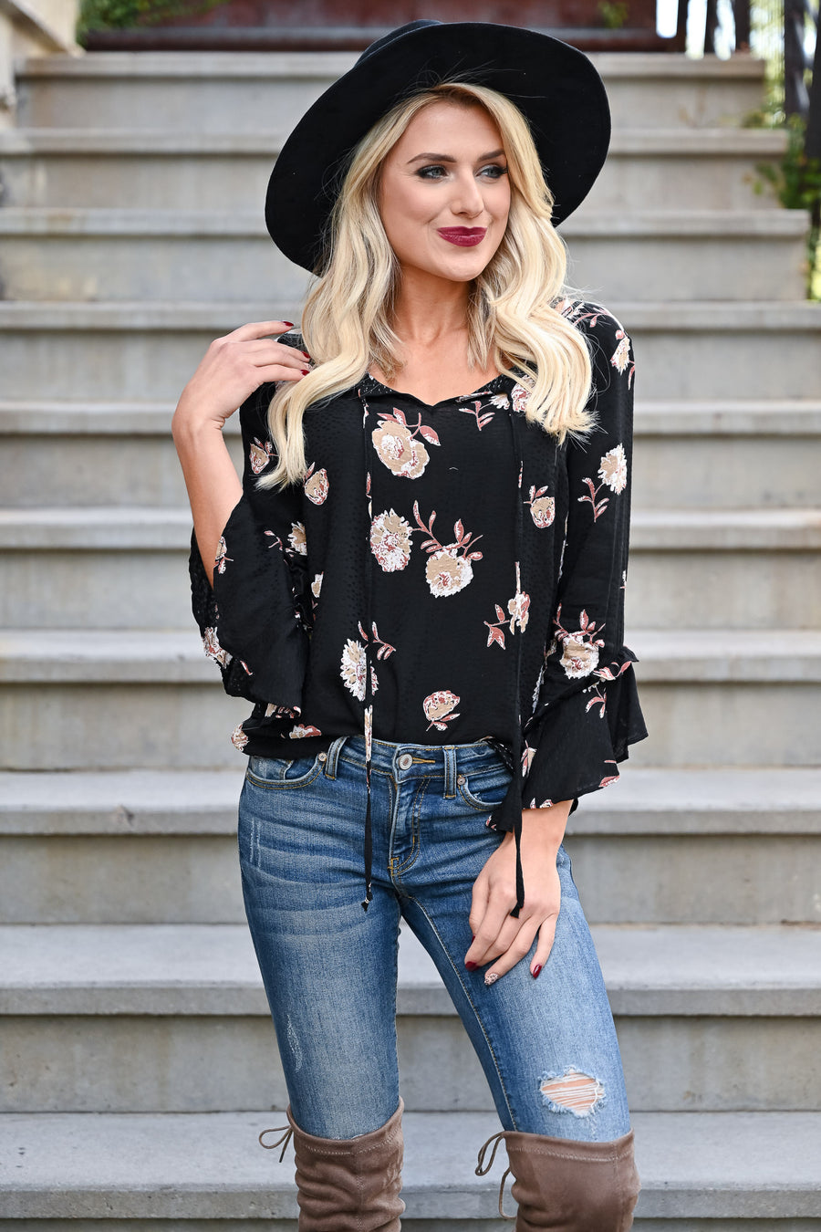 EVERLY With You Floral Top - Black womens floral print 3/4 sleeve self-tie top closet candy front