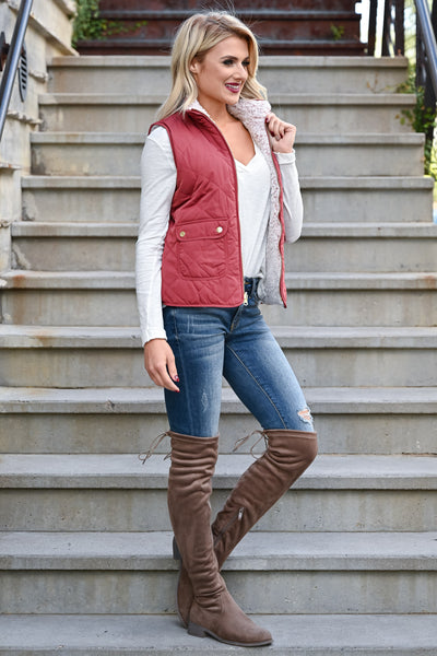 Change Is Good Reversible Sherpa Vest - Rose womens casual reversible quilted sherpa lined zipper vest closet candy side 2