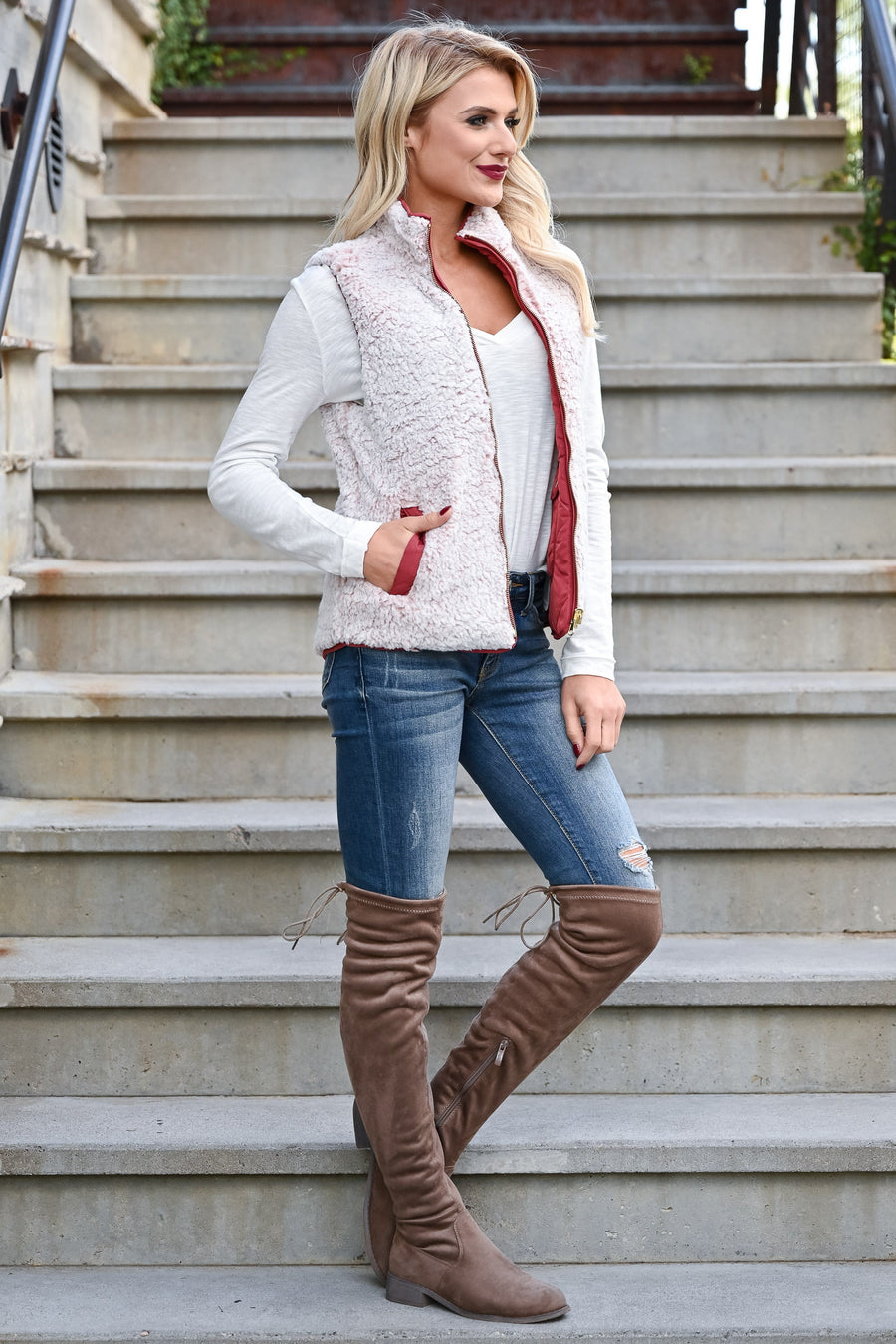 Change Is Good Reversible Sherpa Vest - Rose womens casual reversible quilted sherpa lined zipper vest closet candy front