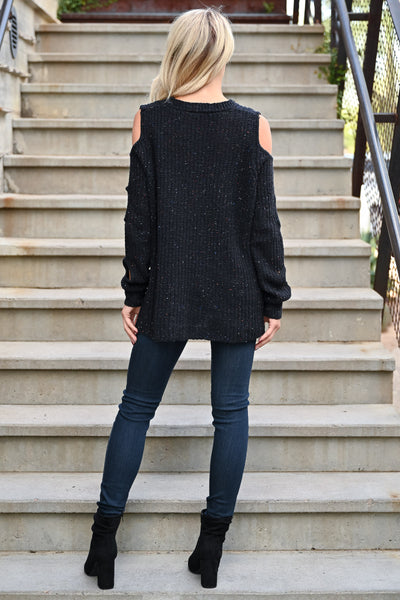 Now I See Sweater - Black womens trendy cold shoulder pullover sweater closet candy back