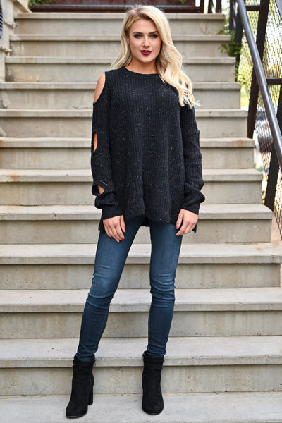 Now I See Sweater - Black womens trendy cold shoulder pullover sweater closet candy front 2