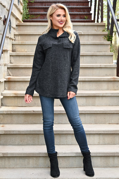 Hold You Tight Pullover - Heather Black womens casual double front pocket long sleeve hoodie closet candy front 2