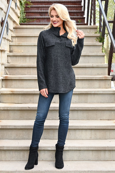 Hold You Tight Pullover - Heather Black womens casual double front pocket long sleeve hoodie closet candy front 3