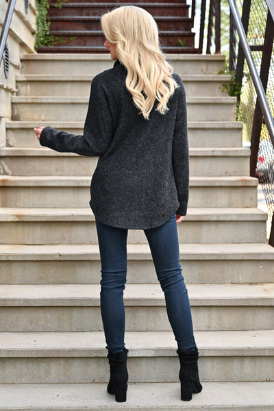 Hold You Tight Pullover - Heather Black womens casual double front pocket long sleeve hoodie closet candy back
