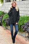 Soon You'll See Sweater - Heathered Black womens trendy turtleneck cable knit long sleeve closet candy front