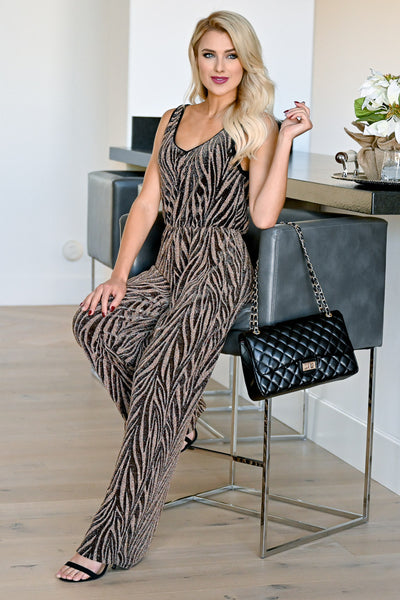 EVERLY Gift For You Jumpsuit - Black & Gold womens trendy zebra print sleeveless sparkly jumpsuit closet candy sitting