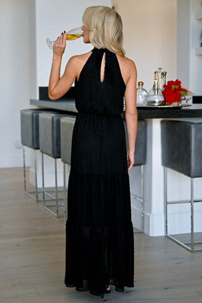 EVERLY Life of Love Maxi Dress - Black womens trendy textured halter neck long dress closet candy back