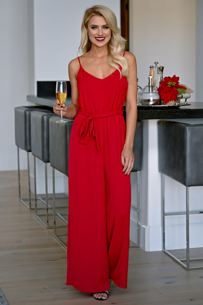 EVERLY Holiday Party Jumpsuit - Ruby Red womens trendy wide leg self-tie waist closet candy front