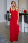 EVERLY Holiday Party Jumpsuit - Ruby Red womens trendy wide leg self-tie waist closet candy front 3