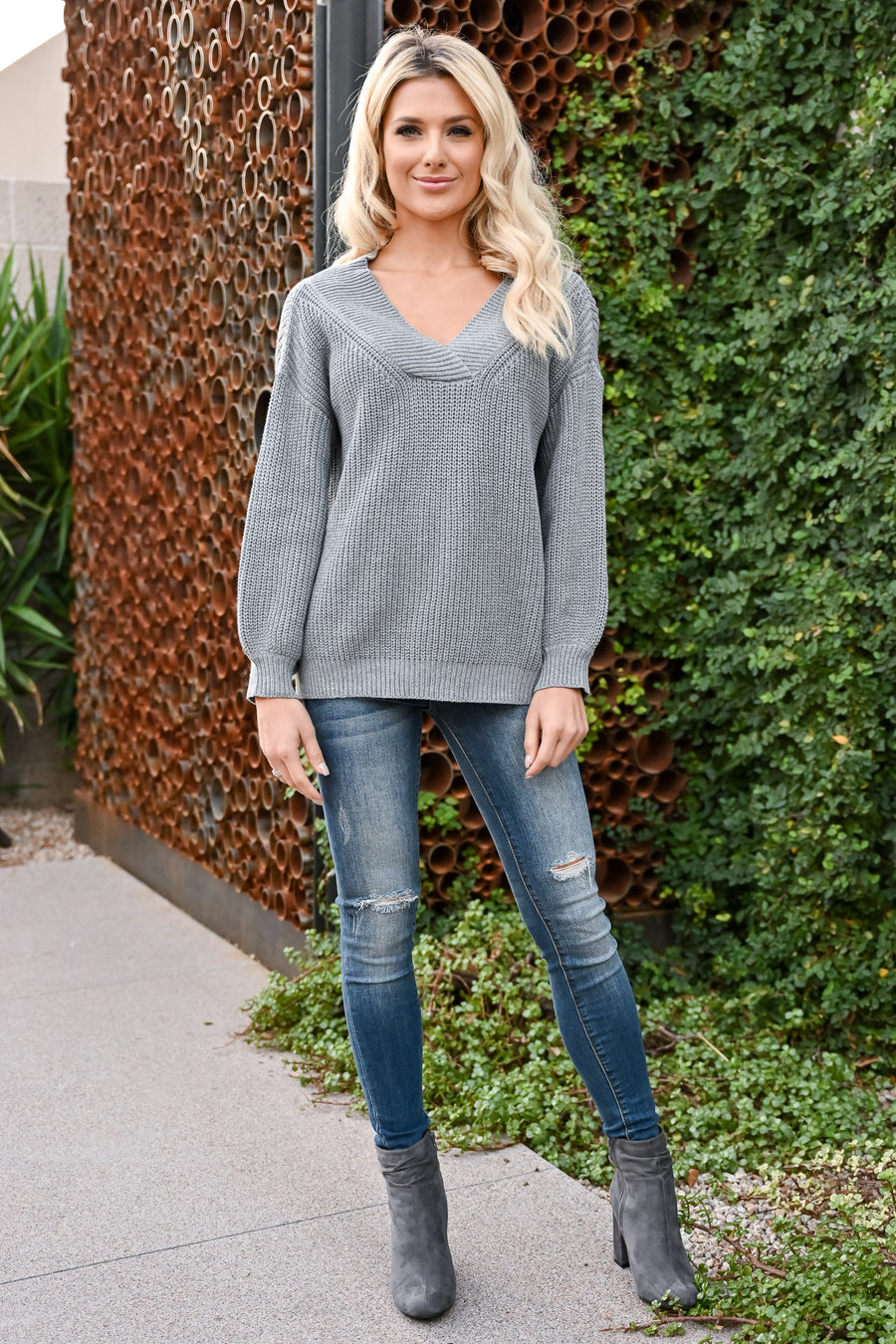 Keep It Up V-Neck Sweater - Grey womens trendy oversized v-neck long sleeve ribbed knit sweater closet candy front