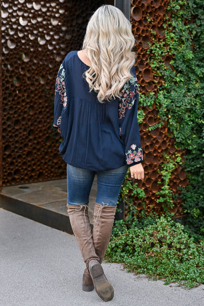 Next Left Top - Navy womens trendy embroidered detail v-neck top closet candy back