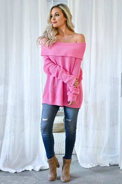 Bold Moves Off The Shoulder Sweater - Pink womens trendy solid knit cowl neck long sleeve sweater closet candy front 2