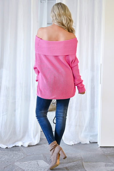 Bold Moves Off The Shoulder Sweater - Pink womens trendy solid knit cowl neck long sleeve sweater closet candy back