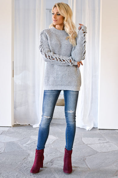 Don't Let Go Sweater - Grey womens trendy criss cross sleeve detail long sleeve sweater closet candy front
