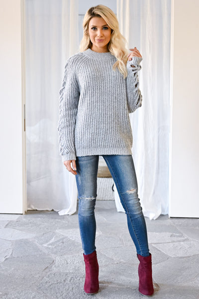 Don't Let Go Sweater - Grey womens trendy criss cross sleeve detail long sleeve sweater closet candy front 2