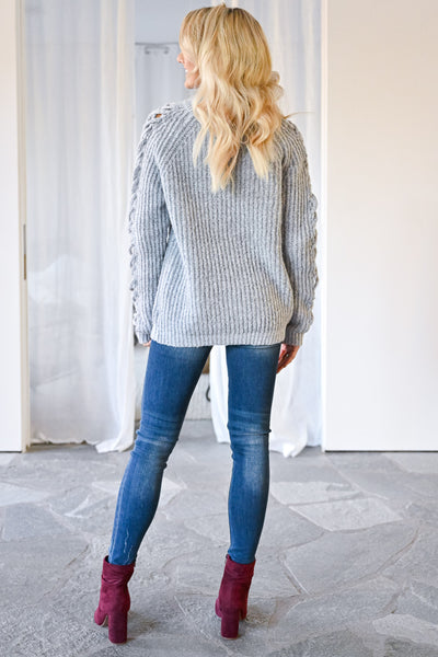 Don't Let Go Sweater - Grey womens trendy criss cross sleeve detail long sleeve sweater closet candy back