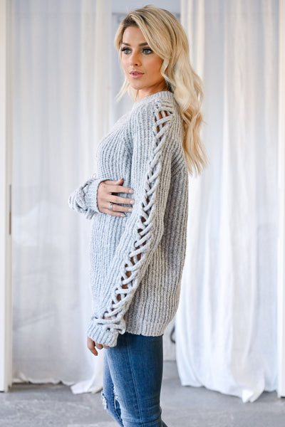 Don't Let Go Sweater - Grey womens trendy criss cross sleeve detail long sleeve sweater closet candy side