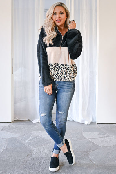 Let's Do This Leopard Hoodie - Black womens casual color block fuzzy pullover leopard hoodie closet candy front 2