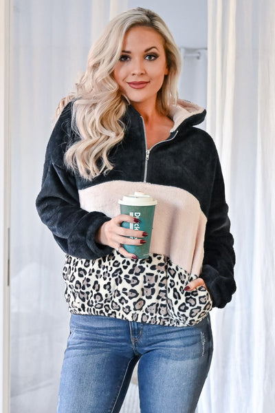 Let's Do This Leopard Hoodie - Black womens casual color block fuzzy pullover leopard hoodie closet candy front