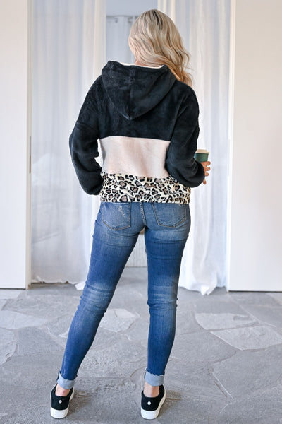 Let's Do This Leopard Hoodie - Black womens casual color block fuzzy pullover leopard hoodie closet candy back