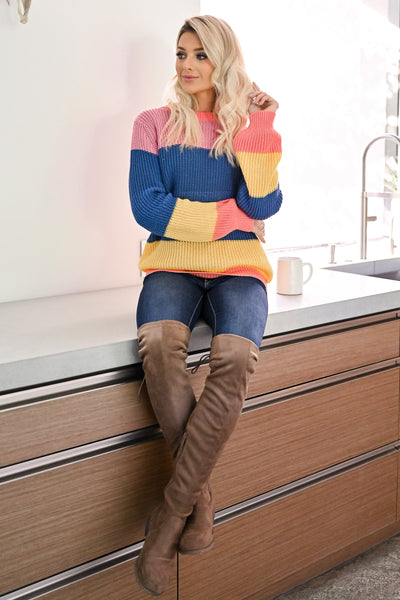 One More Time Sweater - Multi womens trendy multicolor knit long sleeve sweater closet candy sitting