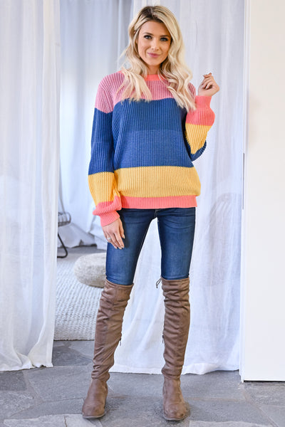 One More Time Sweater - Multi womens trendy multicolor knit long sleeve sweater closet candy front 2