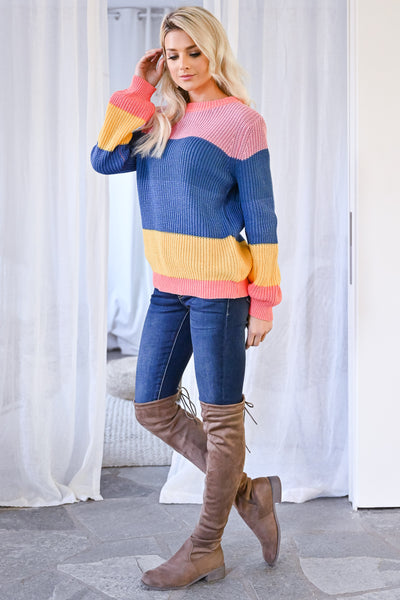One More Time Sweater - Multi womens trendy multicolor knit long sleeve sweater closet candy side