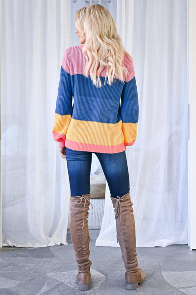 One More Time Sweater - Multi womens trendy multicolor knit long sleeve sweater closet candy back